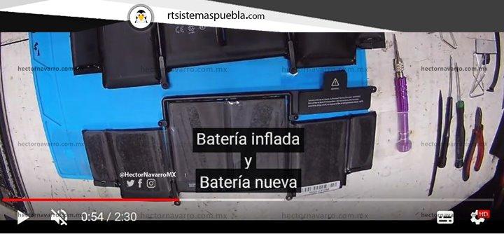 Batería inflada y Batería nueva